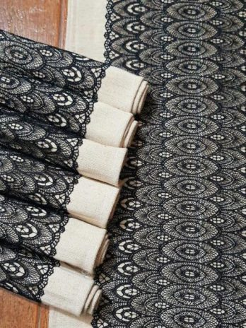 Handmade Vegan Jute Cotton And Lace Patchwork Table Runner